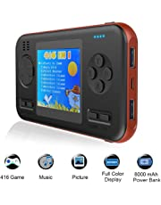 TEEPAO 2.8 Inch Game Handheld Console, Retro Video FC PVP Game Player Gameboy 416 Classic Games, Built-in 8000 MAh Power Bank, Portable Video Game Console with Fast Charger for Travel (Orange Edge)