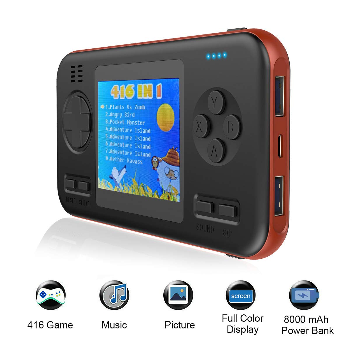 TEEPAO 2.8 Inch Game Handheld Console, Retro Video FC PVP Game Player Gameboy 416 Classic Games, Built-in 8000 mAh Power Bank, Portable Video Game Console with Fast Charger for Travel (Orange Edge) by TEEPAO (Image #1)
