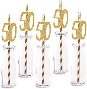 50th Birthday Paper Straw Decor, 24-Pack Real Gold Glitter Cut-Out Numbers Happy 50 Years Party Decorative Straws