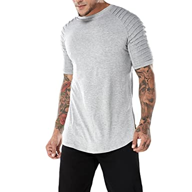 GOMY Herren Schulter Falten Design T-Shirt Basic Sommer Shirt Bluse ...