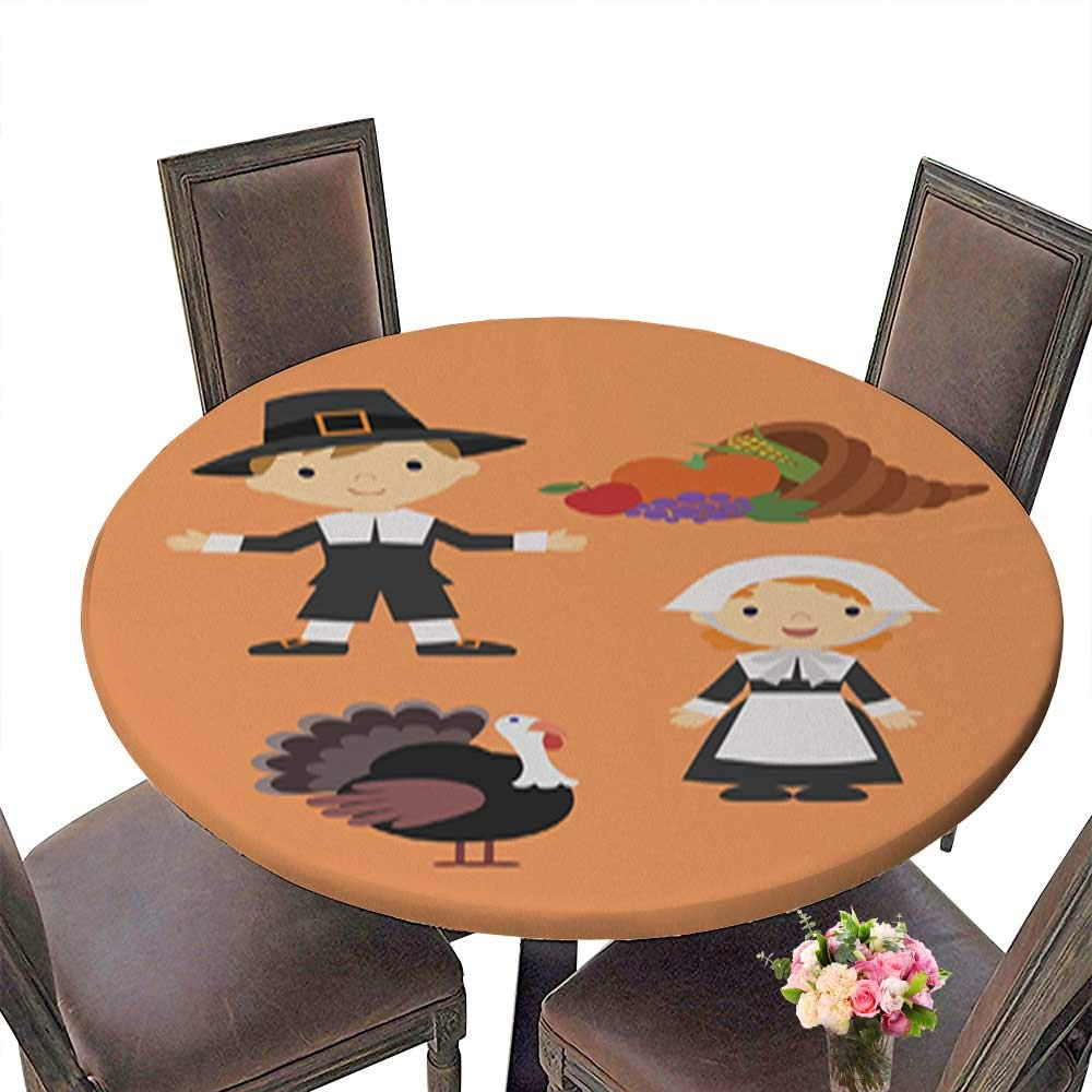 Polyester Happy Thanksgiving with Pilgrims Spillproof Fabric Round Tablecloth up to 31.5''-33.5'' Diameter