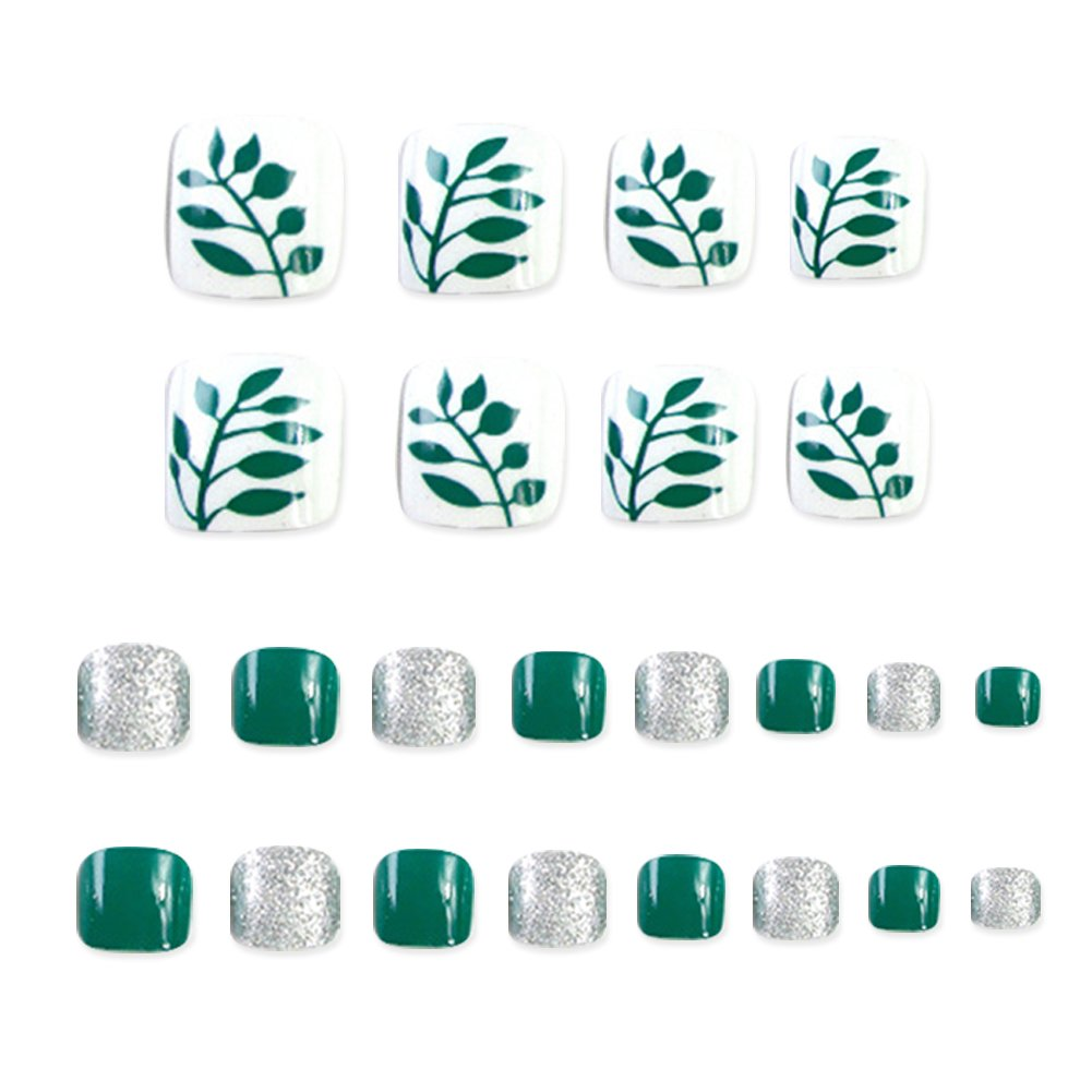 Amazon.com: 24 PCS False Toenail Fake Nail for Toes Flower Decor Full Cover Nail Tips Short Square Toenail: Beauty