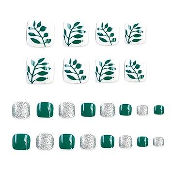 24 uñas postizas falsas para decoración de los dedos de los pies, decoración de flores, puntas de uñas cortas y cuadradas.: Amazon.es: Belleza