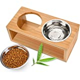 Elevated Dog and Cat Bowls, Raised Cat Dog Bowl Stand with Two Stainless Steel Bowls for Large Medium Smalll Cat or Dog