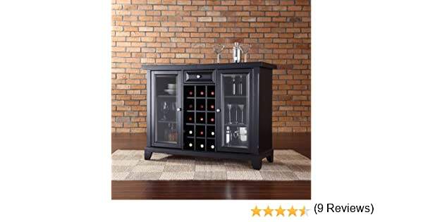 amazoncom crosley newport sliding top bar cabinet black finish kitchen u0026 dining