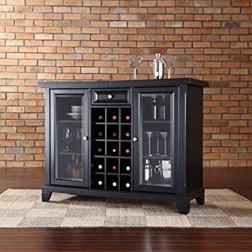 Crosley Newport Sliding Top Bar Cabinet, Black Finish