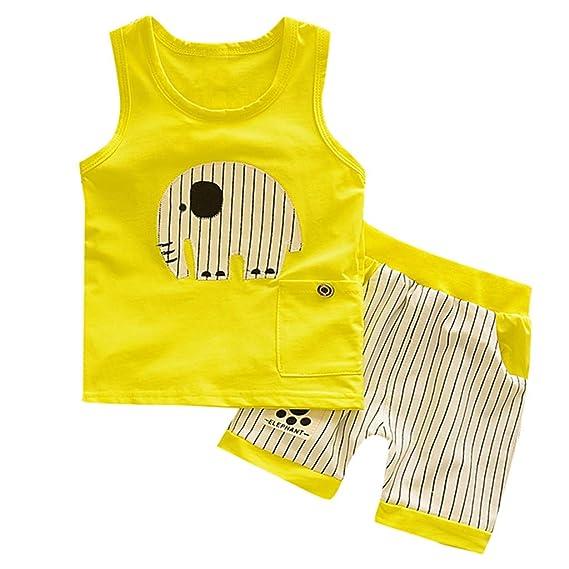 Subfamily Conjuntos Beb/é Ni/ño Ropa Reci/én Nacidos Bebe Ni/ño Camiseta Mangas Cortas Enrejado Estrellas Cartas Estampado Tops y Pantalones Verano Ropa Conjunto