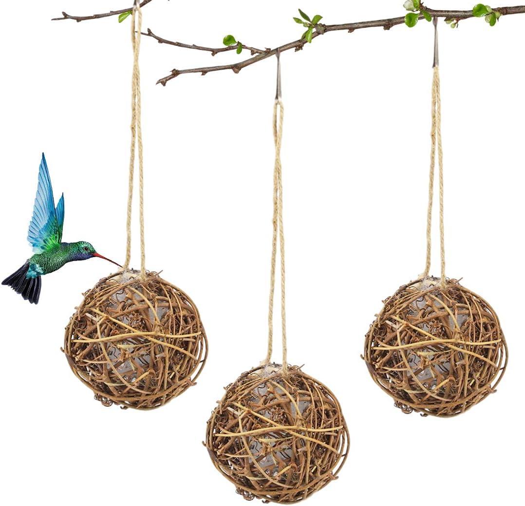 CHLORIS Hummingbird Nester 3 Pack Globe Hanging Rattan Balls with Natural Cotton Nesting Material for Outdoor Birds Birdwatching