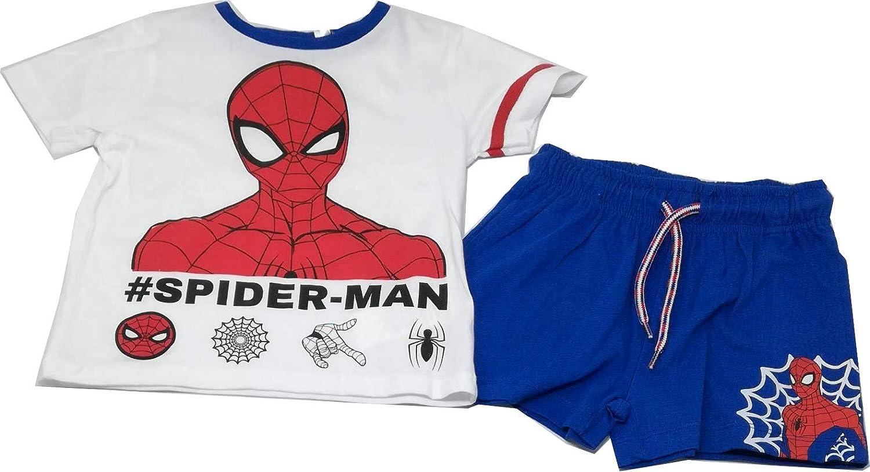 Marvel Completo Maglia e Pantaloncino Spiderman Bianco e Blu Bambino da 3 Anni a 8 Anni Originale ed Ufficiale Estate 2020