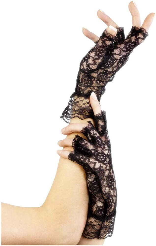 Ladies Adult Black Short Fingerless Lace Gloves Womens 80/'s Party Fancy Gloves