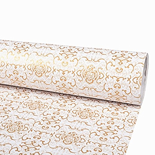 SimpleLife4U Luxury Gold Paisley Wallpaper Peel and Stick Contact Paper Decorative Shelf Liner 17.7 Inch by 9.8 Feet by SimpleLife4U