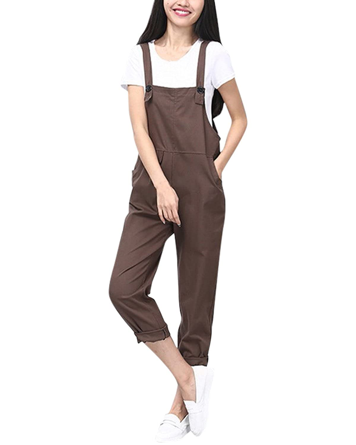 c8fb3475ea4 StyleDome Womens Retro Dungarees Casual Baggy Jumpsuit Loose Sleeveless  Trousers Pants Adjustable Long Playsuit Overalls ZANZEAWirzdoly4196