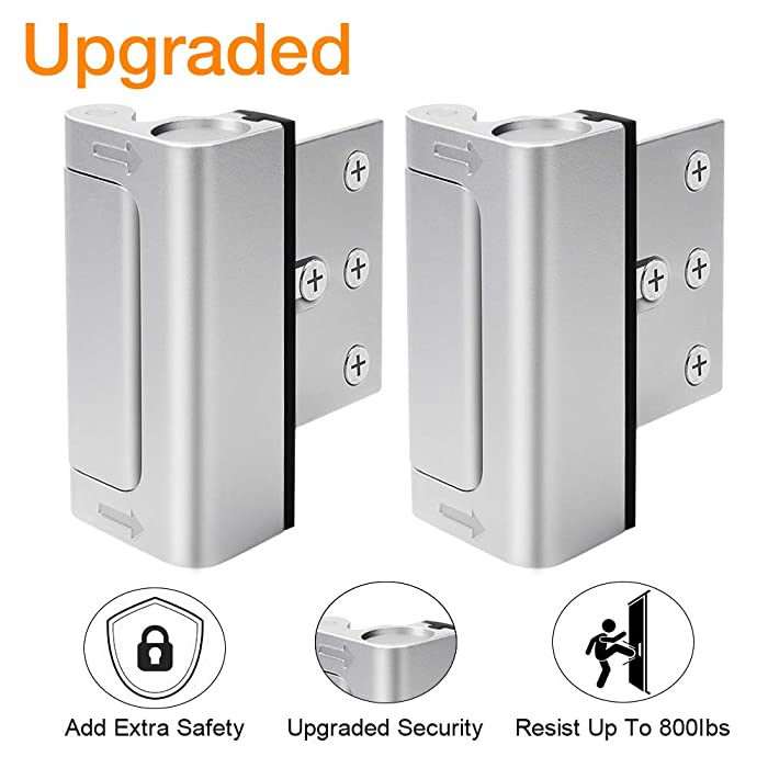 "Home Security Door Lock, Upgrade Easy Open Childproof Door Reinforcement Lock with 3"" Stop Withstand 800 lbs for Inward Swinging Door, Add Extra Lock to Defend Your Home Safe (Silver)"