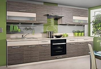 Komplett Küche 270cm Schränke ZEBRANO/BIRNE: Amazon.de ...