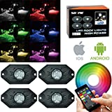 RGB LED Rock Light Kits with Bluetooth Control & Cell Phone Control & Timing & Music Mode & Flashing & Automatic Control & Color Grad Multicolor Neon Lights Under Off Road Truck SUV ATV