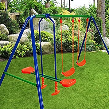 Lovely Deuba Garden Swing Set Childrenu0027s Outdoor Playset 2 Swings 1 See Saw Metal  Frame