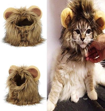 WPETM Disfraz de Melena de león para Mascota,Peluca de Mascota Peluda con Orejas Lindas para Halloween Actividad de Fiesta del Festival de Pascua de Navidad,L: Amazon.es: Hogar
