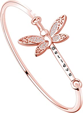 Amazon Com Bekech Semicolon Butterfly Bangle Bracelet Mental Health Suicide Awareness Depression Awareness Semi Colon Jewelry Inspirational Gift For Fighter Warrior Rose Gold Clothing