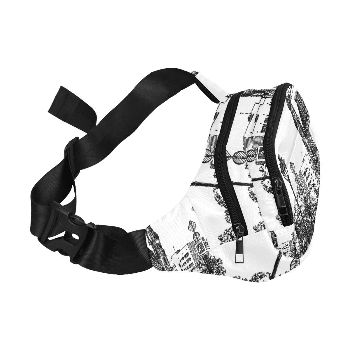 City Street Scene With Buildings Fenny Packs Waist Bags Adjustable Belt Waterproof Nylon Travel Running Sport Vacation Party For Men Women Boys Girls Kids