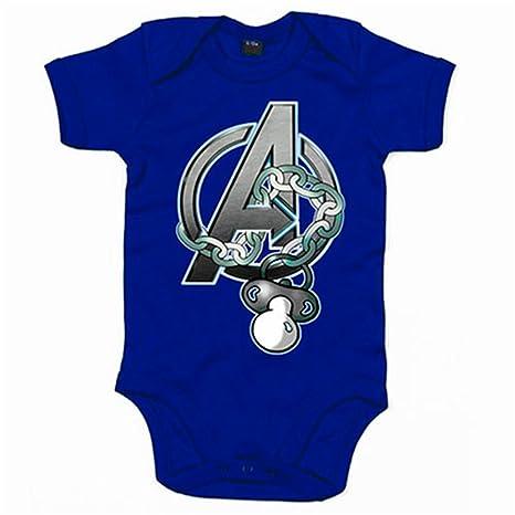 Body bebé Los Vengadores logo con chupete - Azul Royal, 6-12 ...