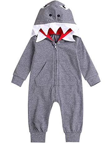 b078f56f26d Newborn Baby Boys Girls Animal Shark Dinosaur Zipper Hooded Sweatshirt  Onesie Romper Jumpsuit Pjs Coat Outfits