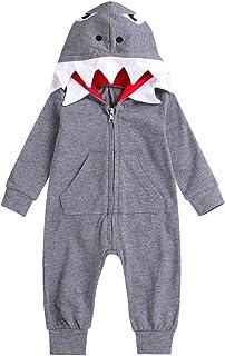 squarex Baby Clothes, Boy Girl 3D Cartoon Shark Hooded Romper Jumpsuit Zipper Clothes