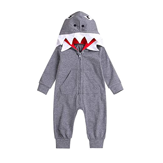 c426ba3bf624 Baby Boys Girls Rompers Infant 3D Cartoon Shark Hooded Romper Jumpsuit  Zipper