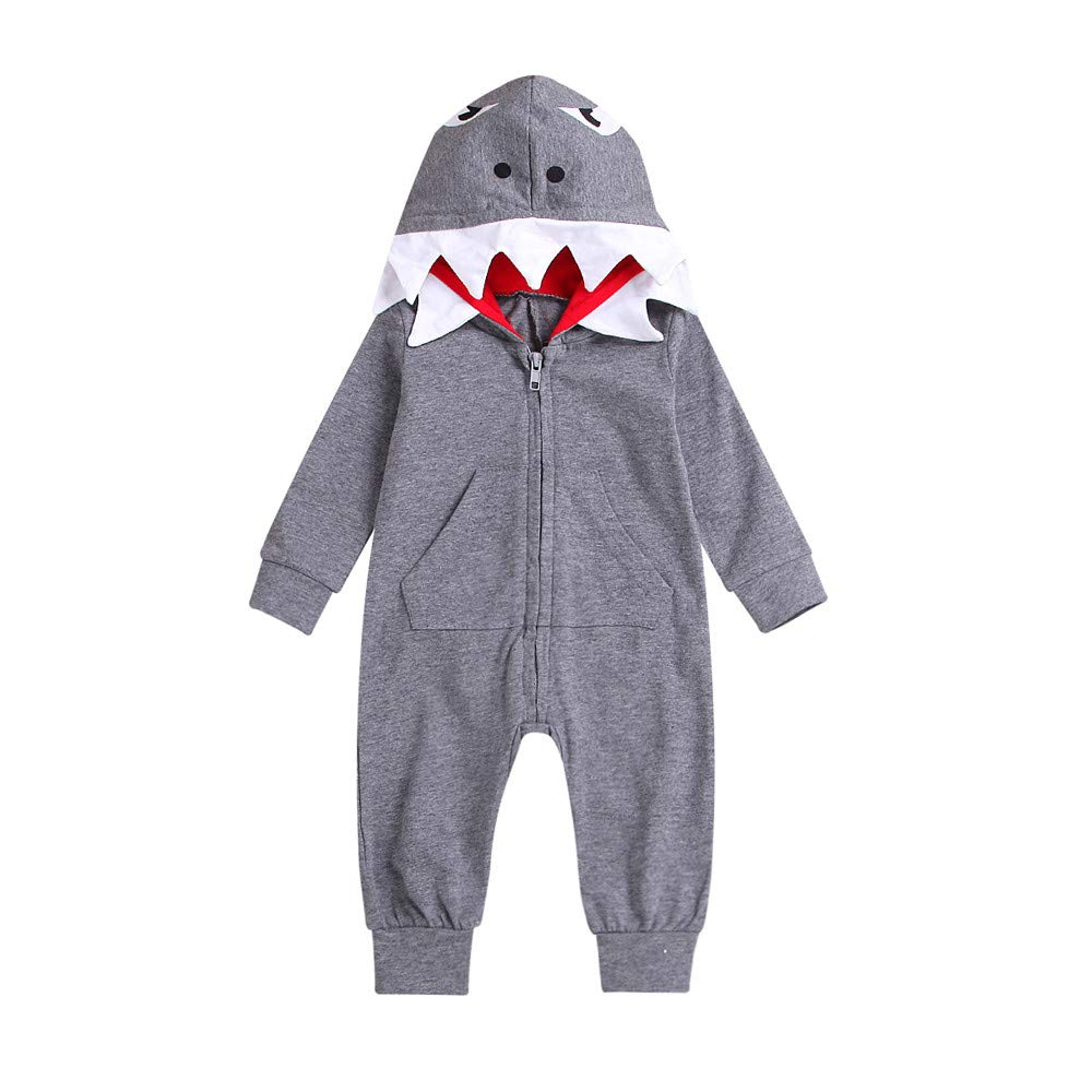 GoodLock Clearance!! Baby Boys Girls Rompers Infant 3D Cartoon Shark Hooded Romper Jumpsuit Zipper Clothes (Gray, 12-18 Months)