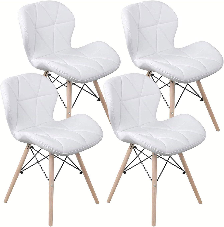 LOVEMYHOUSE Chaises Set 4,PU Cuir R/étro Blanc Chaise /À Manger Chaise De Bureau Lounge,Papillon Type Dossier /À Manger Chaise Chaises Modernes avec des Jambes De Bois