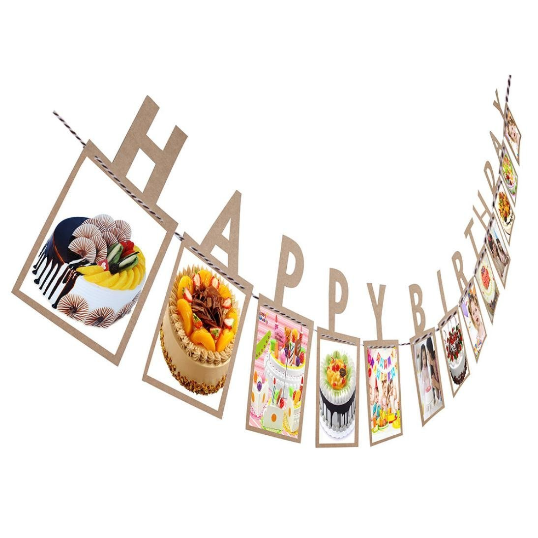Culater® Creative Happy Birthday Photo Banner DIY Paper Photo Frame Wall Hanging Picture Album (Gold) UKAIALIDTV408