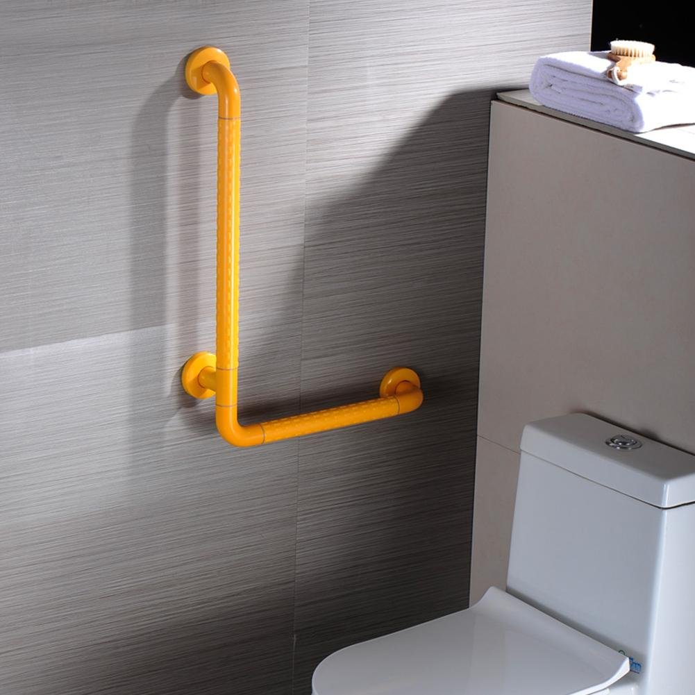 Bathroom Grab Bar Toilet Safety Frame Rail Shower Handicap Bars Medicial Bathroom Aids Armrest (Stainless Steel Covered with Yellow ABS) , H