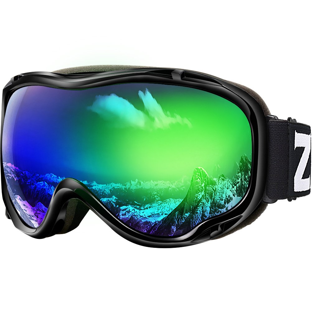 Zionor Lagopus Ski Snowboard Goggles UV Protection Anti Fog Snow Goggles for Men Women Youth VLT 18% Black Frame Mirrored Green Lens by Zionor