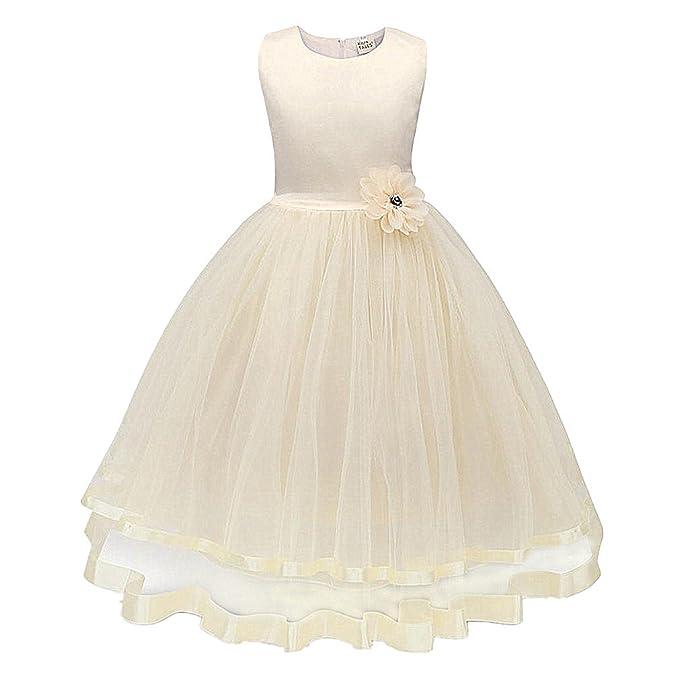 ❤️Kobay Blume Mädchen Prinzessin Brautjungfer Festzug Tutu Tüll Kleid Party Hochzeit Kleid