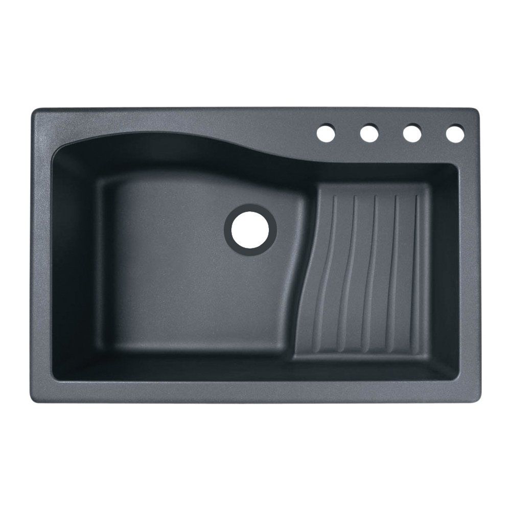 Swanstone QZ03322AD.077-4 4-Hole Granite Kitchen Sink, 22 x 33 , Nero