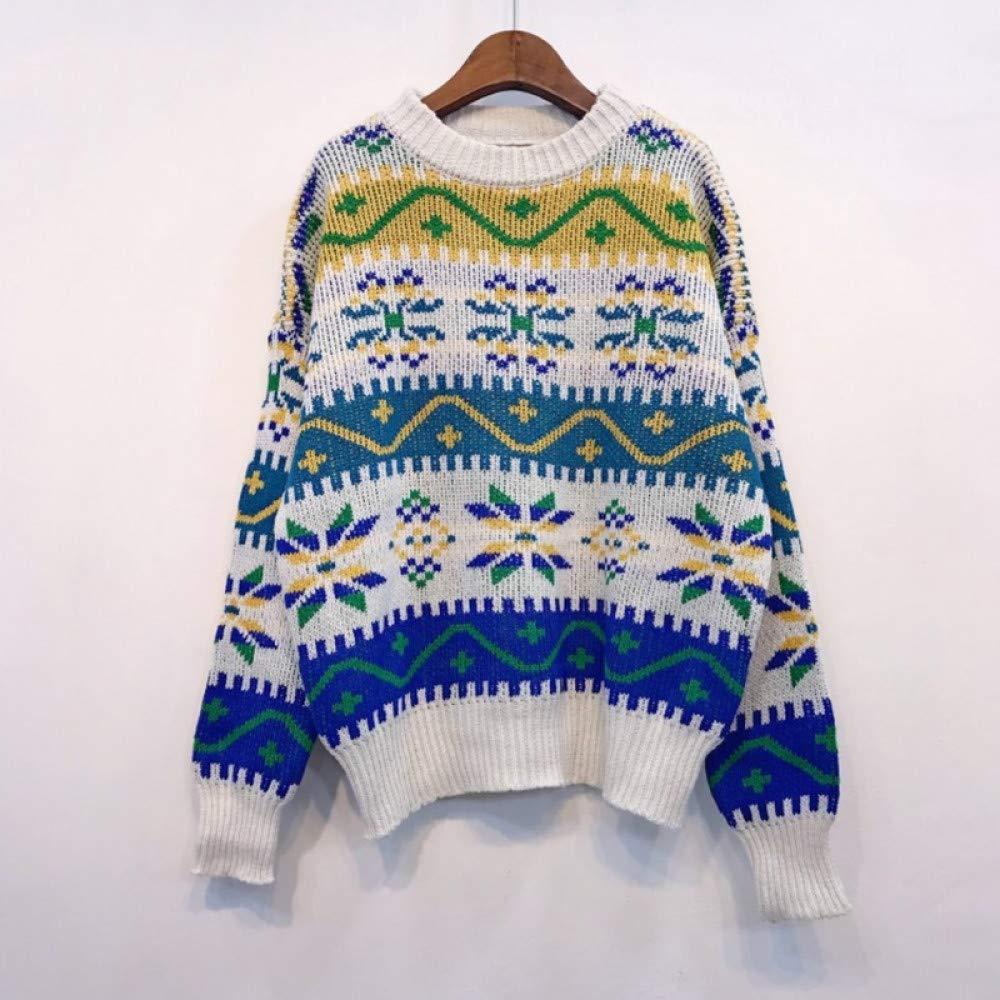 FUHENGMY Pullover Vintage Weihnachten Pullover Frau Mode Herbst Winter Langarm Strick Frauen Pullover Beiläufige Lose Jumper Damenschuhe Weiß