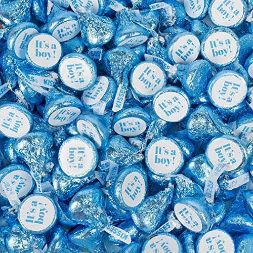 Boy Baby Shower Candy 1lb It's A Boy Blue Hershey's Kisses Candy (100 Count) - No Assembly Required (Blue Kisses Chocolate)