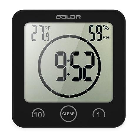 Decdeal - Multiusos Reloj Digital Impermeable para Cocina y Baño con Pantalla Grande/Temporizador/