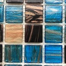 "Blue Sapphire Copper Blend Iridescent Glass Backsplash Mesh-Mounted 3/4 x 3/4"" Mosaic Tiles for Kitchen Bathroom (Sample)"