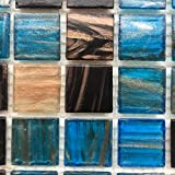 Glass Backsplash Blue Sapphire Copper Blend Iridescent Glass Backsplash Mesh-Mounted 3/4 x 3/4