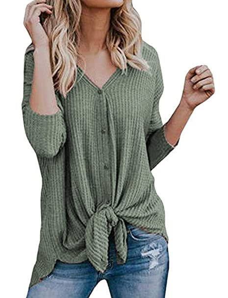 a6a18f89b Womens Loose Fitting See Through Waffle Knit Tunic Blouse Tie Knot shirts  Green,XXL