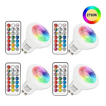 Bombilla LED Colores GU10 3W RGB LED Foco Multicolor Bombillas con mando, 12 colores +