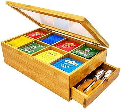 Caja de almacenamiento de madera para té y alimentos, tapa transparente con cajón oculto, extraíble para una fácil limpieza (té o cucharas no incluidas): Amazon.es: Bricolaje y herramientas