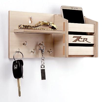 7cr Wooden Key Holder Pocket with Shelf - (13.2x10.2 cm, Light Brown)