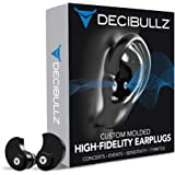 Decibullz - Custom Molded High Fidelity Earplugs - Hearing Protection for Musicians, Concertgoers, and Sensory Disabled - Bla