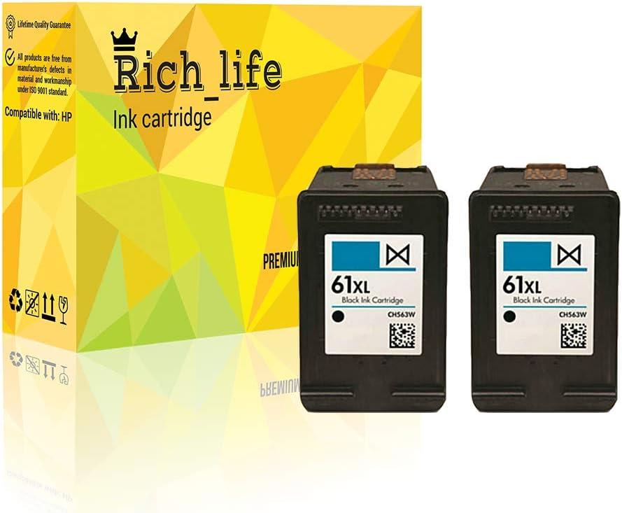 Rich_life Remanufactured Ink Cartridge Replacement For HP61XL HP 61XL Black Inkjet Cartridges Compatible HP Printer Deskjet ENVY Officejet 2 Pack (Black)