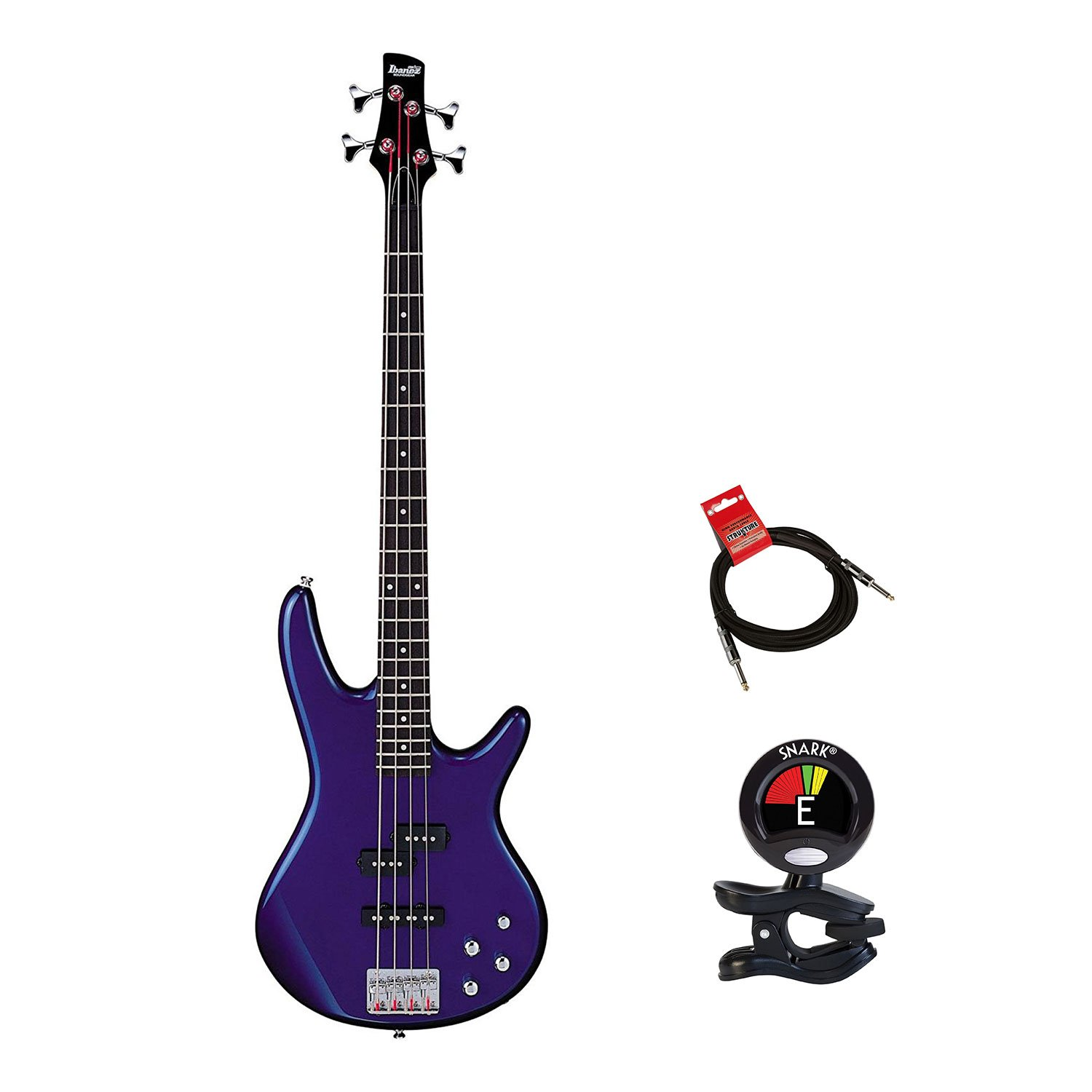 Ibanez GSR200 4 Strings Electric Bass Guitar in Jewel Blue with Clip On Guitar Tuner and Zorro Sounds Guitar Cable