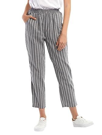 2d9613d6c4f97 Minetom Femme Pantalons Casual Slim Crayon Taille Haute avec Ceinture Gris  X-Small