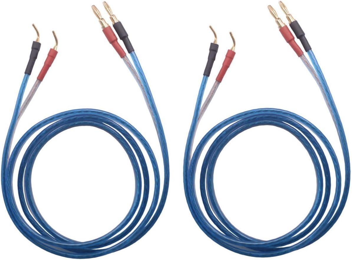 KK ZB-SB 1pair Set(4banana&4pin) HiFi OFC Speaker Wire, Banana Plug to Pin Type Plug, 1.5M(4.92ft)/3M(9.84ft)/5M(16ft)/7M(22.9ft), KK ZB-SB