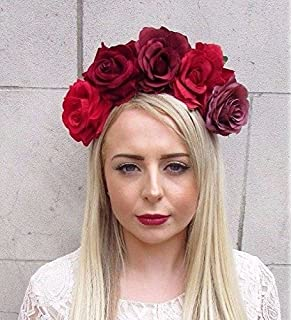 Black Wine Bourgogne Red Rose Berry Flower Headband Hair Crown Floral Goth 5670