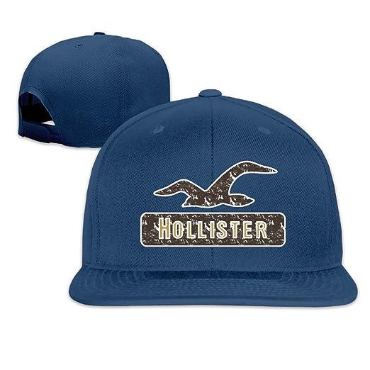 Amazon.com  Hollister Retro Logo Flat Snapback Hat Cap Men Women ( 8 ... dc1c791acbd